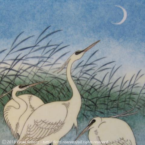 Gru, da originale di Ohara Koson, dipinto a terzo fuoco, particolare, 2008 egret cranes heron