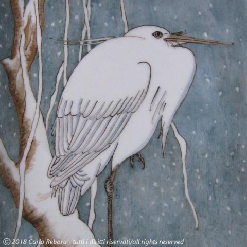 Gru nella neve, da originale di Ohara Koson, dipinto a terzo fuoco, particolare, 2010 Egret on Snow-covered Branch