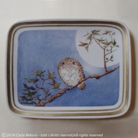 Gufo con la luna piena, da originale di Utagawa Hiroshige, dipinto a terzo fuoco, 2017 Small Horned Owl on Maple Branch under Full Moon