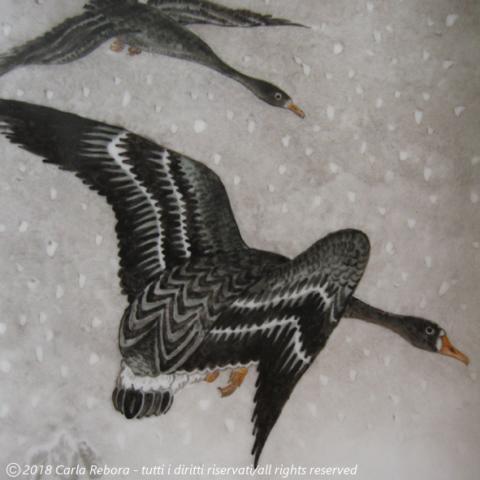 Oche nella tempesta di neve, da originale di Ohara Koson, dipinto a terzo fuoco, 2008 Geese in Snowstorm