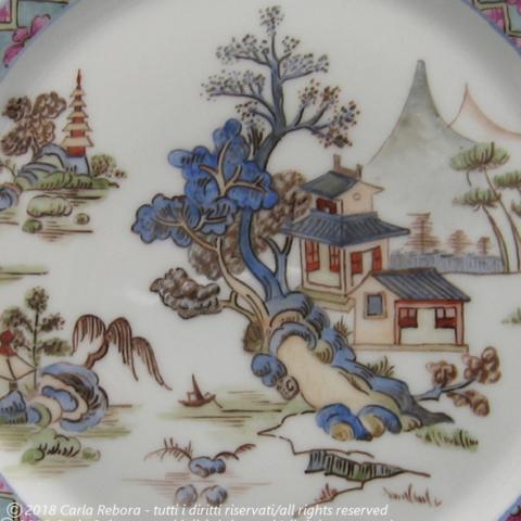 Paesaggio con pagoda, dipinto a terzo fuoco, particolare, 2003