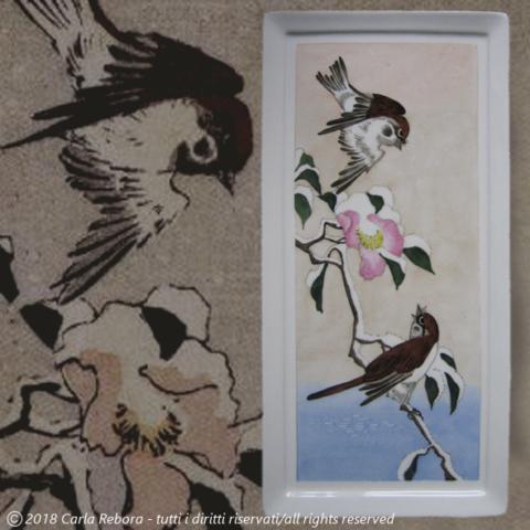 Passeri e camelia nella neve, da originale di Utagawa Hiroshige, dipinto a terzo fuoco, 2012 sparrows and camellia in the snow