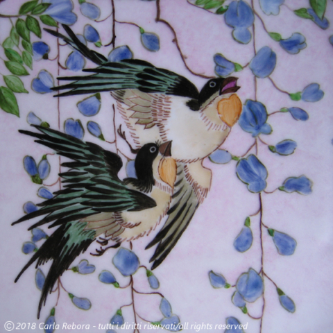 Rondini e glicine, da originale di Utagawa Hiroshige, dipinto a terzo fuoco, 2007 Swallows and wisteria