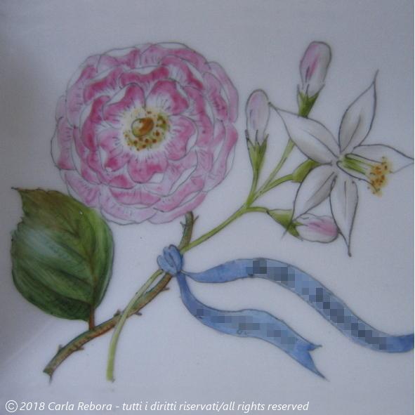 Una rosa e una zagara, piccolo dipinto a terzo fuoco, particolare, 2016